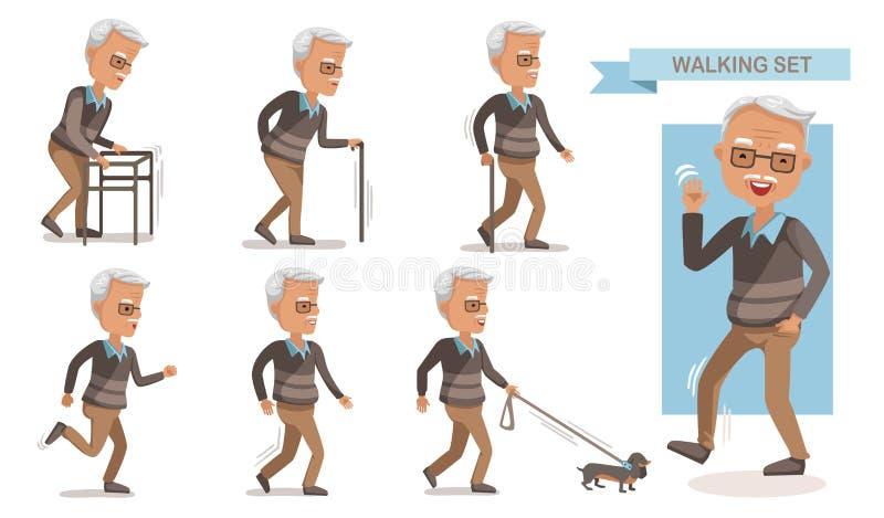 Het Lopen van de bejaarde royalty-vrije illustratie