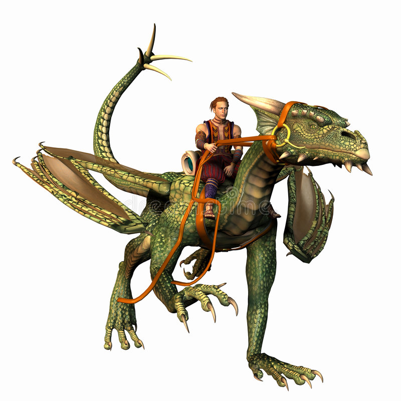 Het lopen van de draak en van de ruiter stock afbeelding
