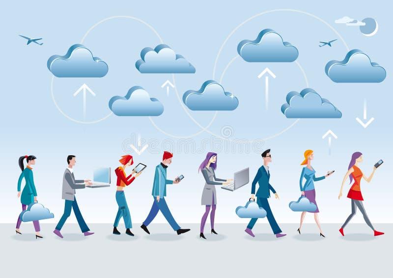Het Lopen van de Gegevensverwerking van de wolk royalty-vrije illustratie