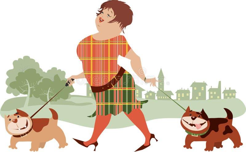 Het Lopen van de vrouw Honden stock illustratie