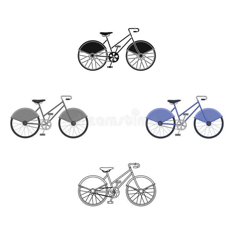 Het lopen van fiets met het grote schilden en krommen drijven Economisch vervoer Verschillend Fiets enig pictogram in beeldverhaa stock illustratie