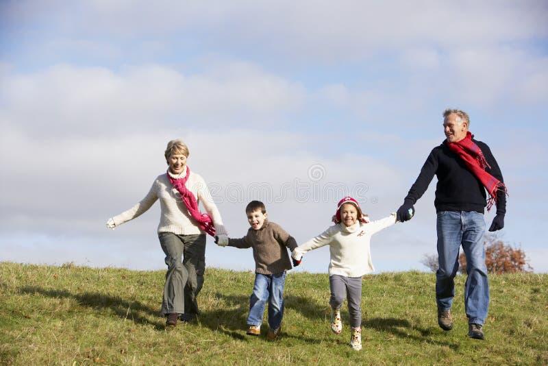 Het Lopen van grootouders en van Kleinkinderen stock afbeelding