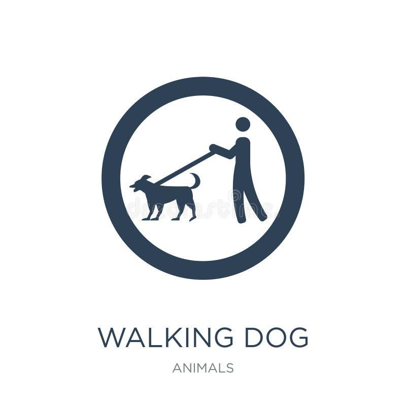 het lopen van hondpictogram in in ontwerpstijl lopend hondpictogram op witte achtergrond wordt geïsoleerd die lopend eenvoudig en vector illustratie