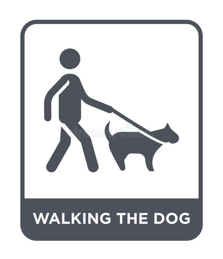 het lopen van het hondpictogram in in ontwerpstijl lopend het hondpictogram op witte achtergrond wordt geïsoleerd die lopend het  royalty-vrije illustratie