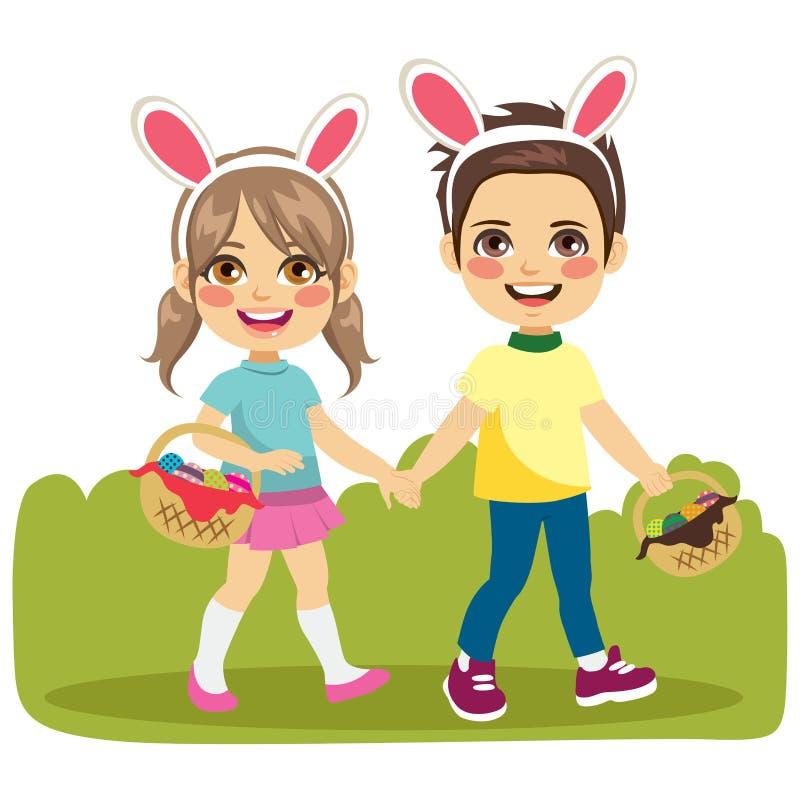 Het Lopen van kinderenpasen vector illustratie
