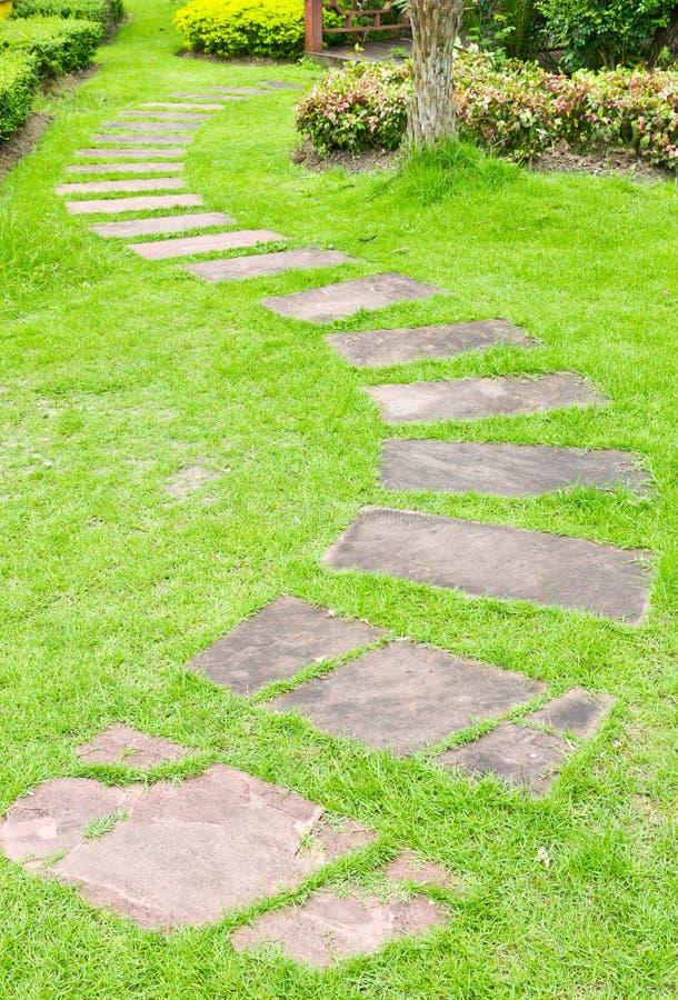 Het lopen van steen op groen gras royalty-vrije stock afbeeldingen