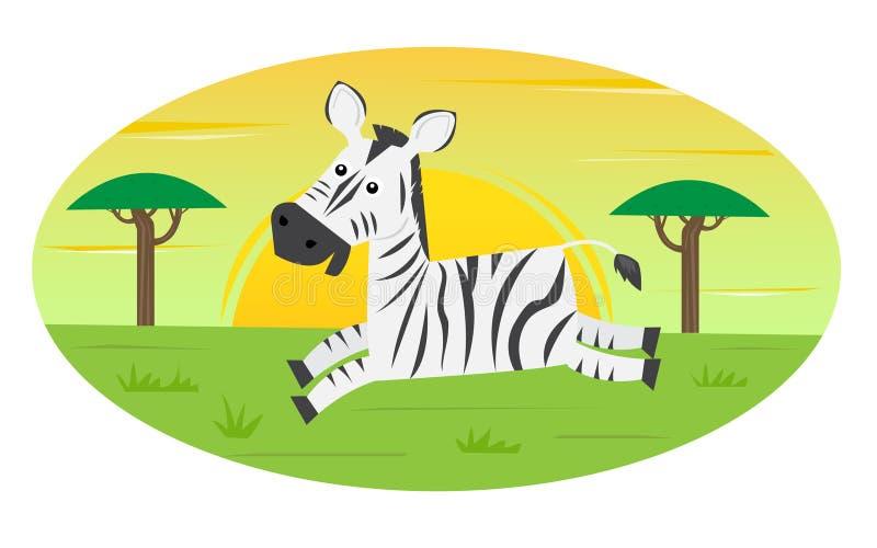 Het lopen Zebra royalty-vrije illustratie