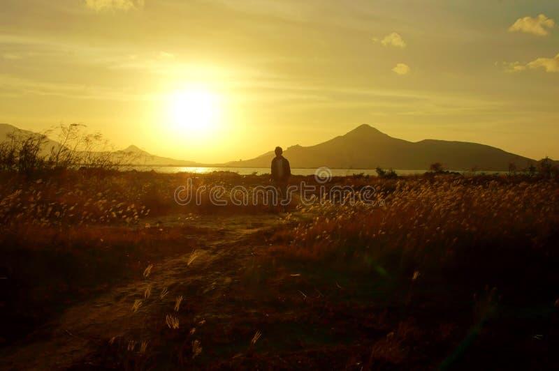 Het lopen in zonsopgang stock foto