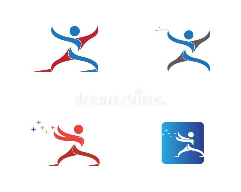Het lopende malplaatje van het het pictogramembleem van de mensensport vector illustratie