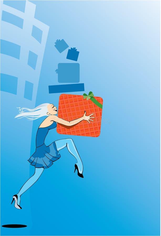 Het lopende meisje met stelt na het winkelen voor vector illustratie