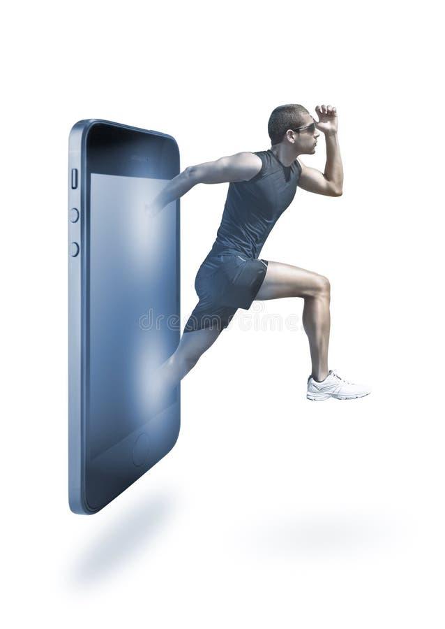 Het lopende mobiele concept van de telefoontoepassing. royalty-vrije stock afbeeldingen