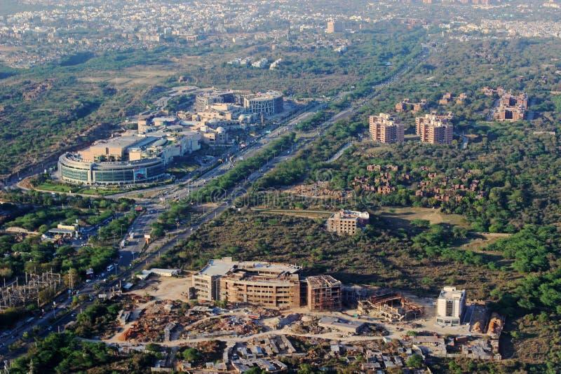 Het luchtgebied New Delhi Ind. Menings Moderne Zuid- van Delhi stock foto