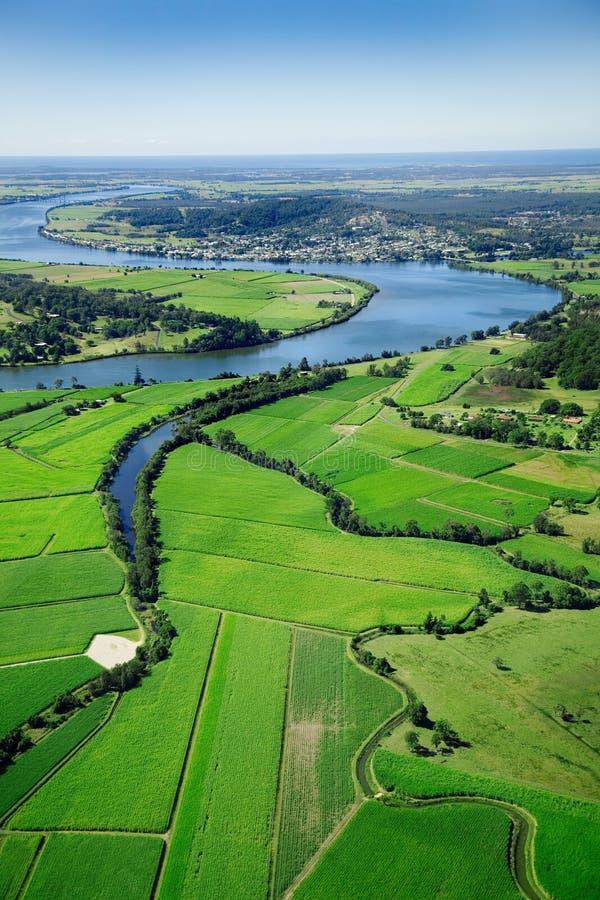 Het luchtlandschap van de landbouwgrond royalty-vrije stock afbeelding