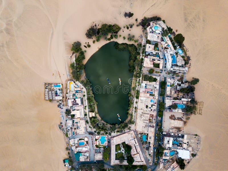 Het luchtlandschap van de woestijnoase stock fotografie