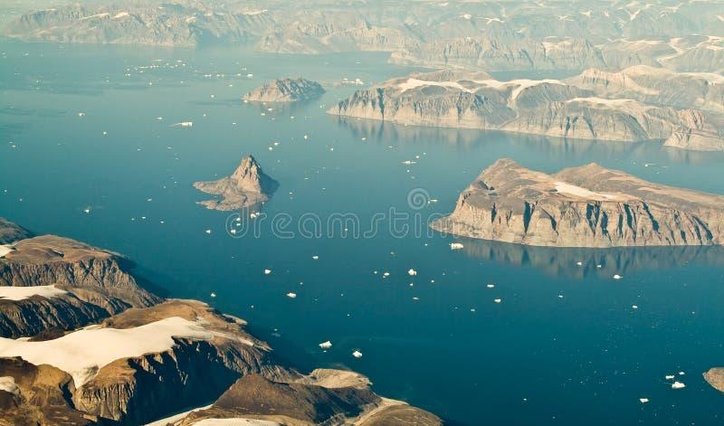 Het luchtlandschap van Groenland stock afbeelding