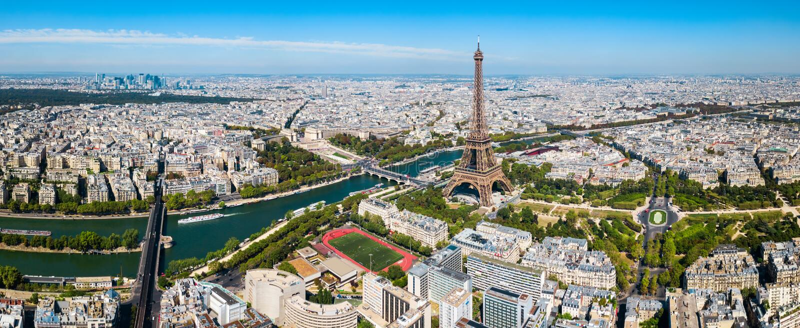 Het luchtpanorama van Parijs, Frankrijk stock foto