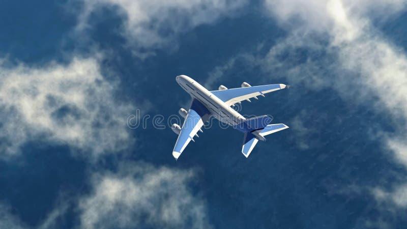 Het luchtvliegtuig vliegt in een hemel royalty-vrije stock afbeelding