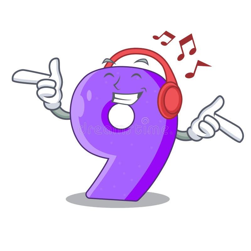 Het luisteren muziek nummer Negen gestalte gegeven ballondoopvont charcter stock illustratie