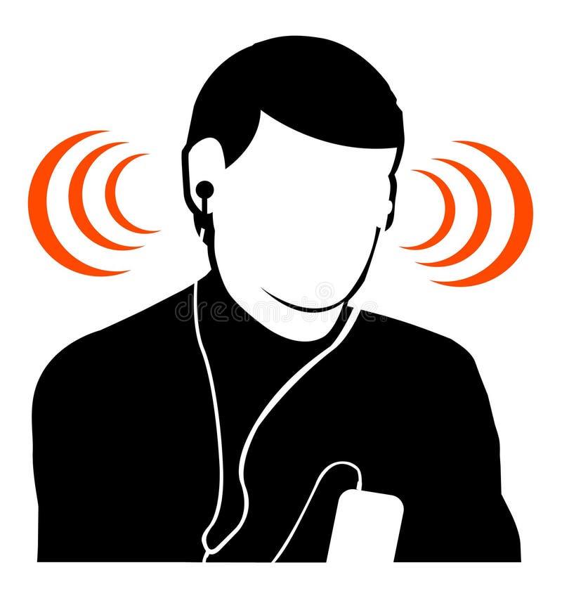 Het luisteren van de kerel muziek bij hoog volume royalty-vrije illustratie