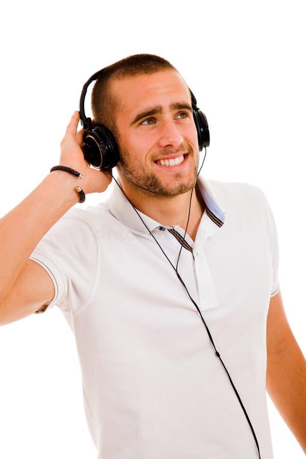 Het luisteren van de mens muziek royalty-vrije stock foto