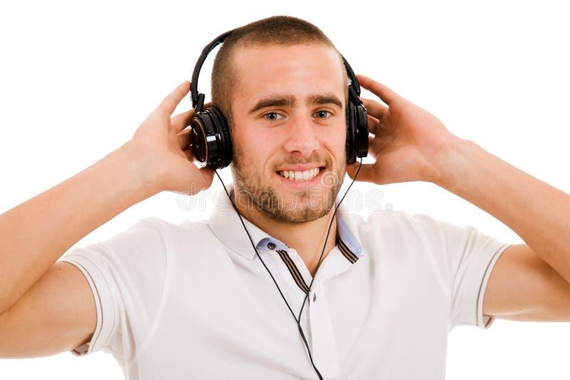 Het luisteren van de mens muziek royalty-vrije stock fotografie