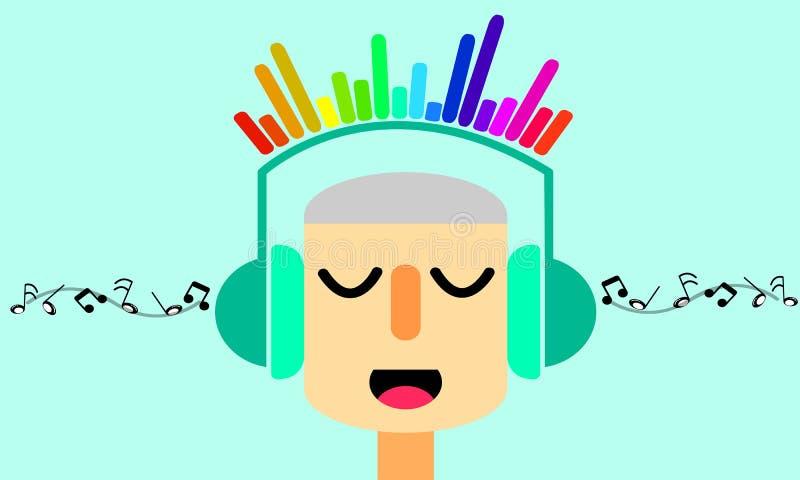 Het luisteren van de mens muziek Grafische illustrator royalty-vrije stock afbeelding