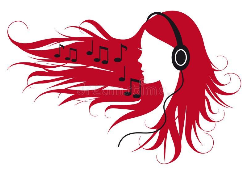 Het luisteren van de vrouw muziek vector illustratie