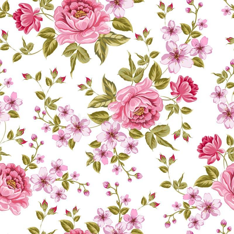 Het luxueuze patroon van de kleurenpioen. vector illustratie