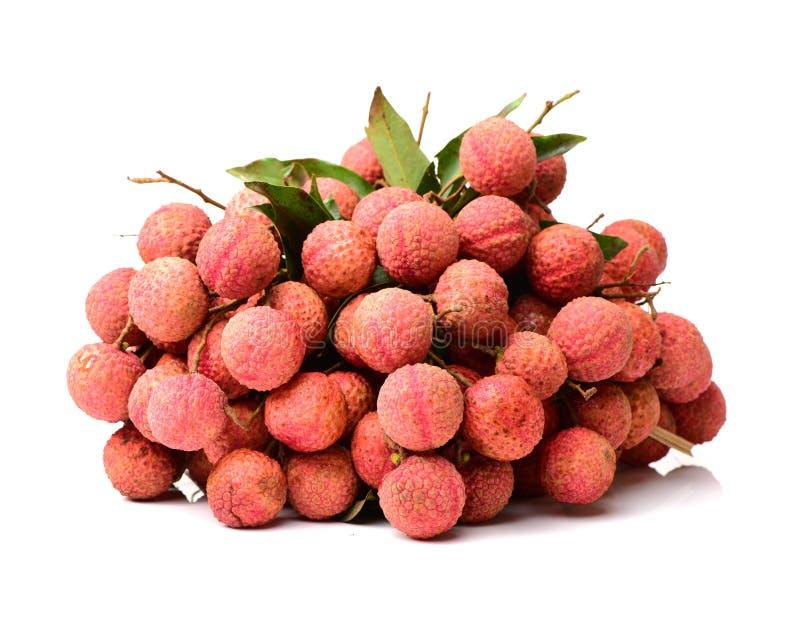 Het lycheefruit met stam en bladeren stock afbeelding