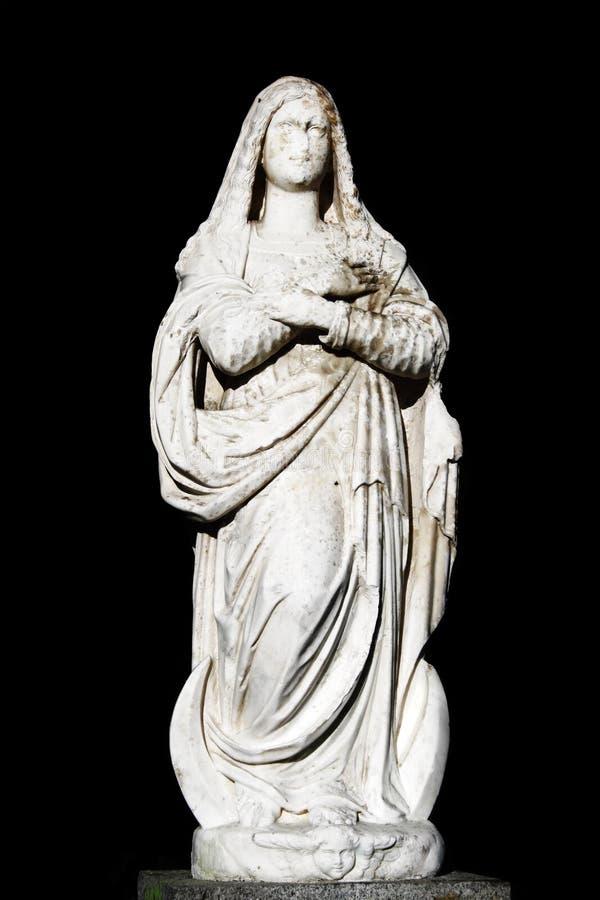 Het maagdelijke standbeeld van Mary stock afbeeldingen