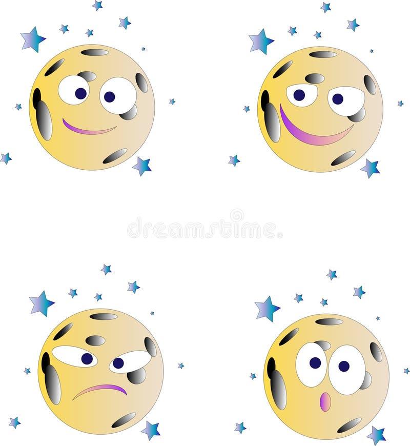 Het maangezicht gaf glimlachen als emotiepictogrammen gestalte royalty-vrije stock foto's