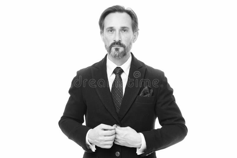 Het maatkostuum vleit elke drager Het kostuum doordringt betekenis van vertrouwen van heren Mensen knappe zekere rijpe manier royalty-vrije stock afbeeldingen