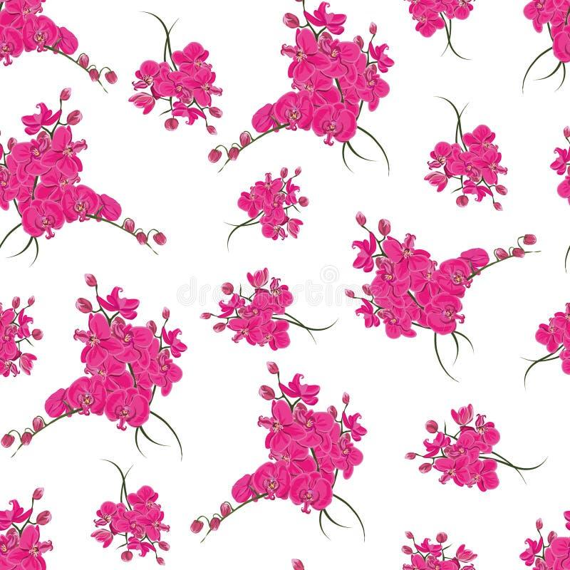 Het magenta naadloze patroon van orchideerococo's vector illustratie