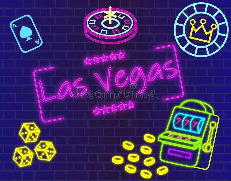 Het magenta van letters voorzien van Las Vegas Vector met casinopictogrammen op blauwe muurachtergrond royalty-vrije illustratie
