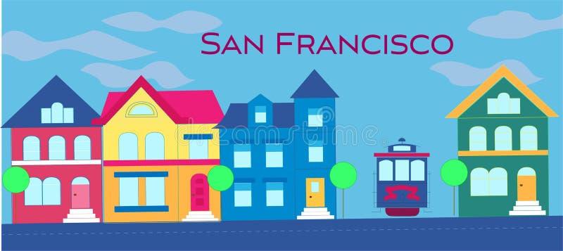 Het magenta magenta van letters voorzien van San Francisco Vector met kleurrijke victorian huizen en kabelwagen op lichtblauwe be royalty-vrije illustratie
