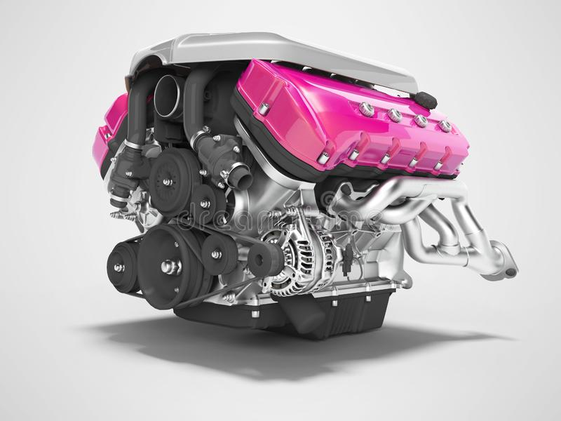 Het magenta van het motor van een autogietijzer met aanzet isoleerde 3d teruggeeft op grijze achtergrond met schaduw stock illustratie