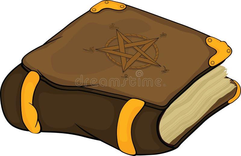 Het magische boek met symbolen pentagram. Beeldverhaal stock illustratie
