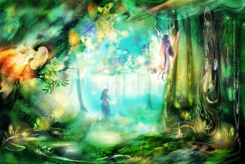Het magische bos met feeën royalty-vrije illustratie