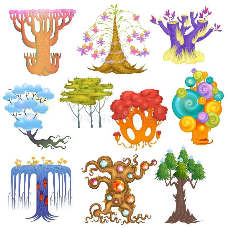 Het magische bos van de boom vectorfantasie met beeldverhaaltreetops en magische installaties of fee bloeit de reeks van de illus stock illustratie