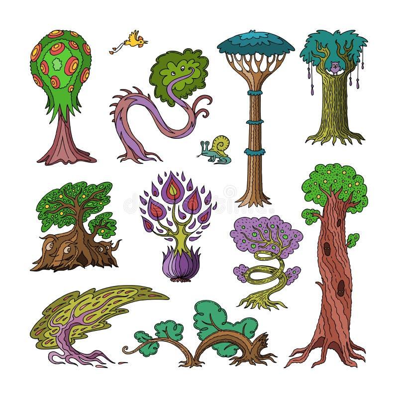 Het magische bos van de boom vectorfantasie met beeldverhaaltreetops en magische installaties of fee bloeit de reeks van de illus vector illustratie