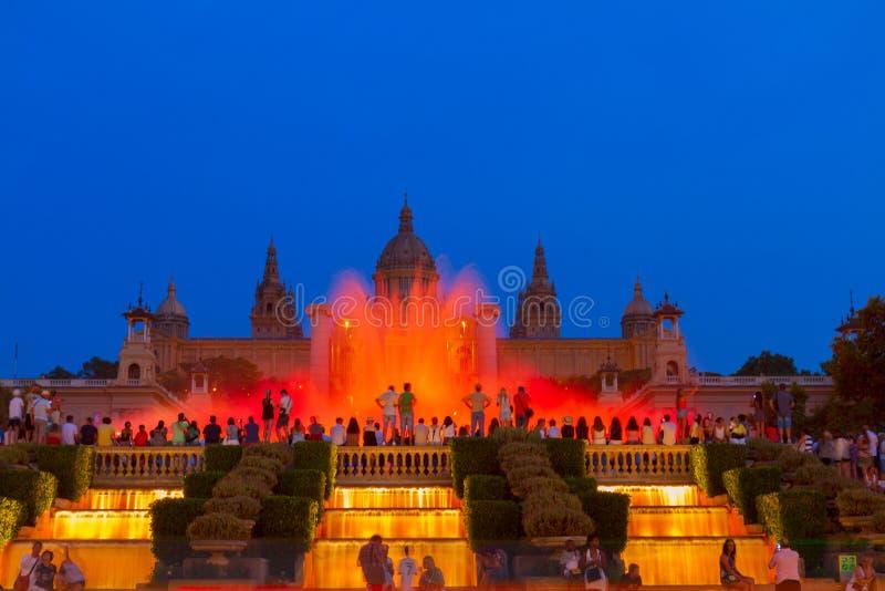 Het magische Fonteinlicht toont, Barcelona royalty-vrije stock foto