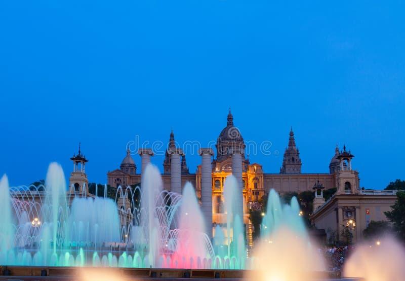 Het magische Fonteinlicht toont, Barcelona royalty-vrije stock afbeelding