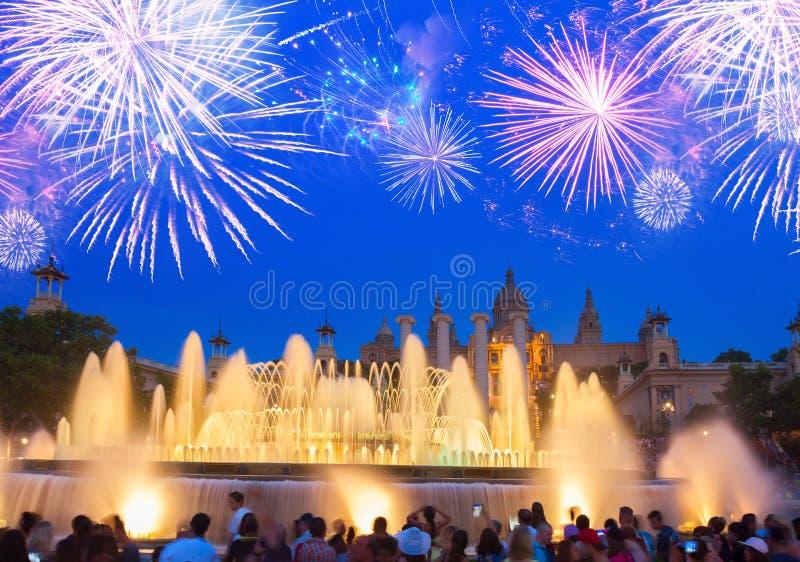 Het magische Fonteinlicht toont, Barcelona royalty-vrije stock foto's