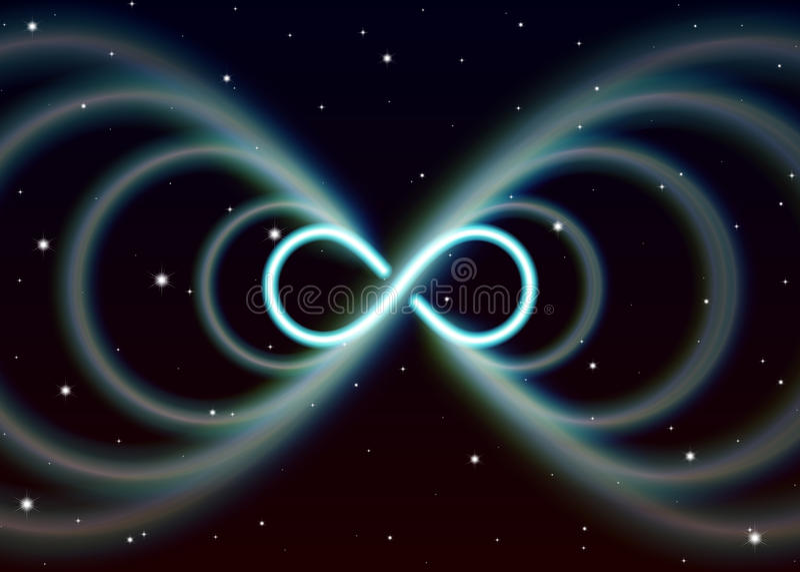 Het magische lemniscatesymbool, oneindigheid of acht spreidt zijdelings de mysticus glanzende energie in geestelijke ruimte uit stock illustratie