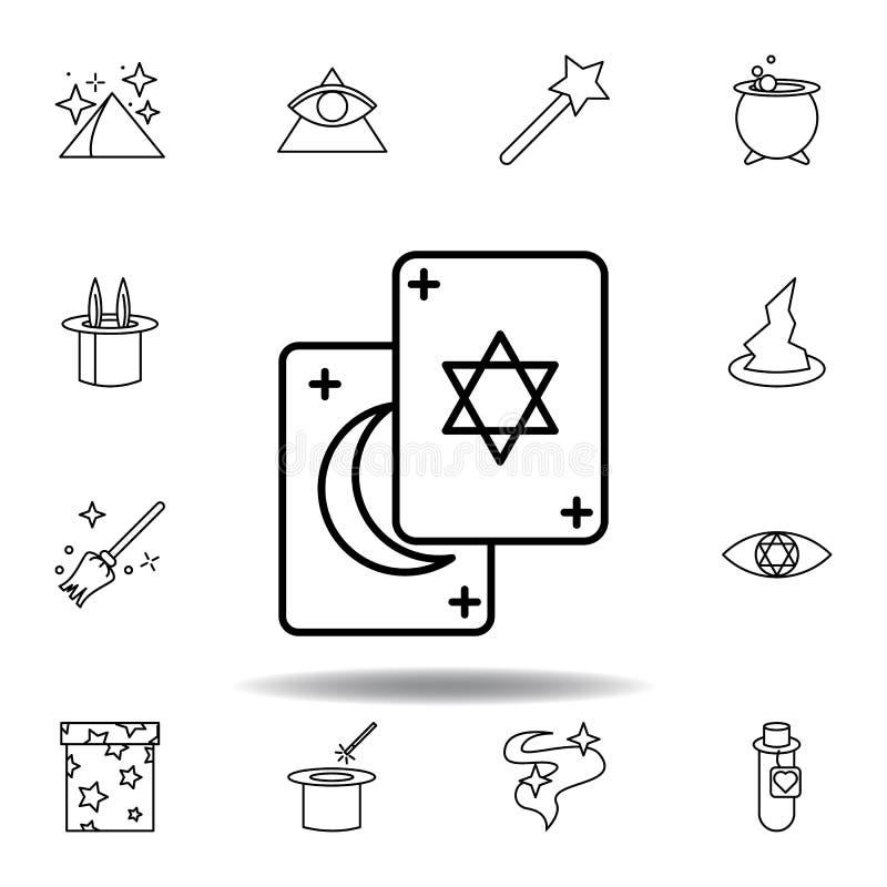 Het magische pictogram van het tarotoverzicht elementen van het magische pictogram van de illustratielijn de tekens, symbolen kun vector illustratie