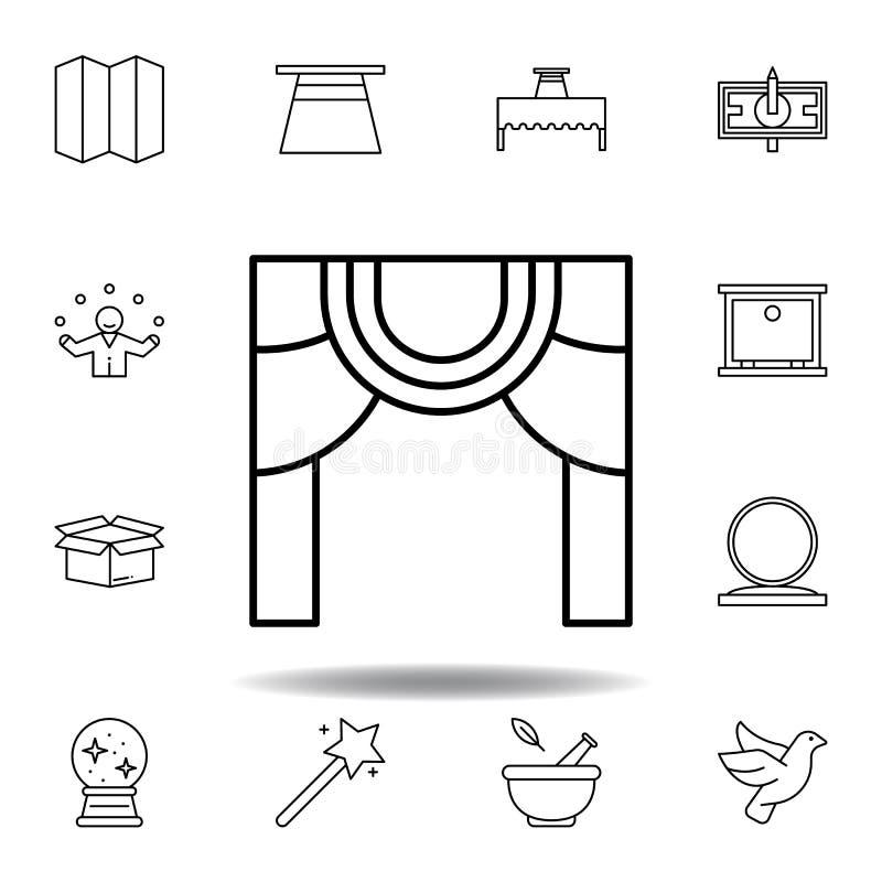 Het magische pictogram van het theateroverzicht elementen van het magische pictogram van de illustratielijn de tekens, symbolen k stock illustratie