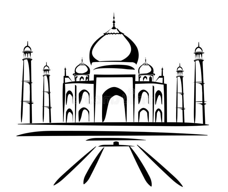 Het mahal symbool van Taj in zwarte lijnen stock illustratie