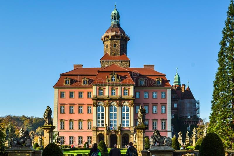 Het majestueuze barokke kasteel van Ksiaz, woonplaats Hochbergow, Lager Silesië, Polen, Europa royalty-vrije stock afbeelding