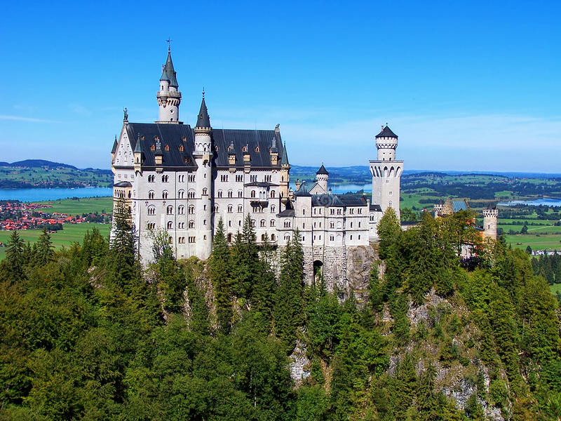 Het Majestueuze Neuschwanstein-Kasteel stock foto