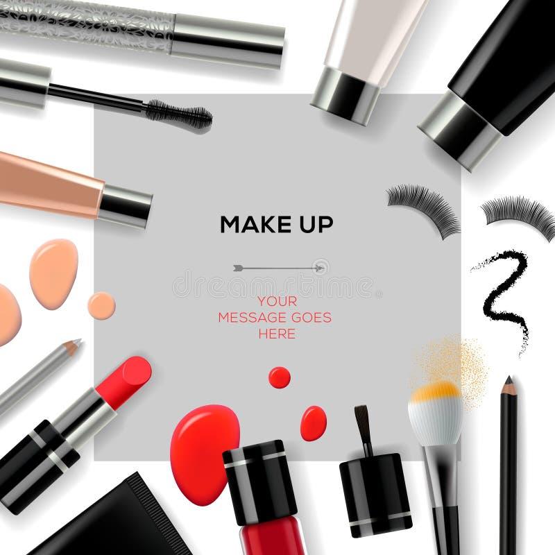 Het make-upmalplaatje met maakt omhoog schoonheidsmiddelen stock illustratie